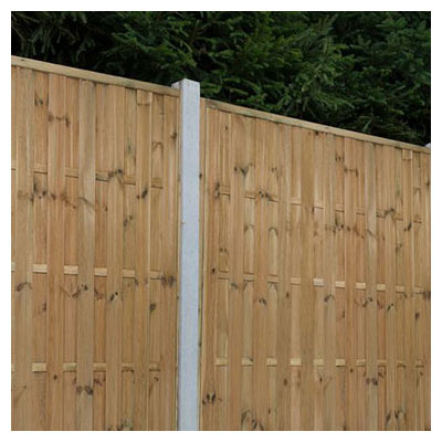 Forest 6x6 Vertical Hit and Miss Fence Panel - A close up of a vertical hit and miss fence panel between concrete posts
