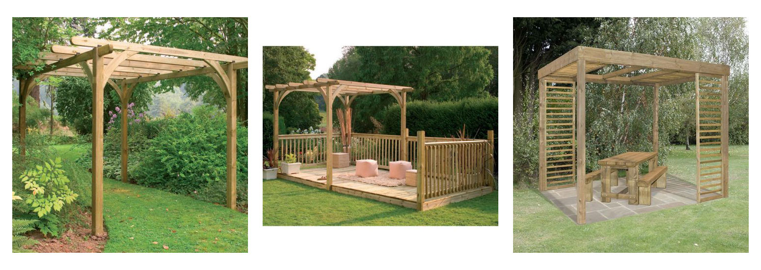 The Forest 7x7 Pergola Kit, a deck kit including pergola, and the Forest Florence Pergola with Side Panels sheltering a table and 2 benches