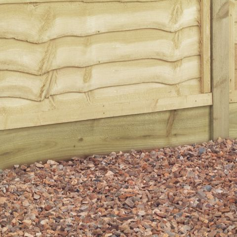 a light brown gravel board supporting a fence panel atop some pea gravel