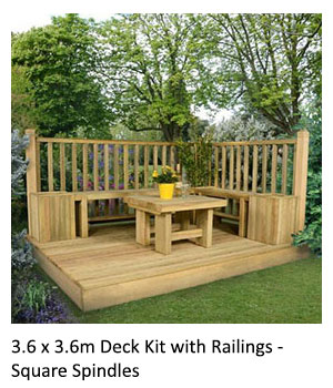 A table and yellow flowerpot sat on top of the 3.6 x 3.6m Deck Kit with Railings - Square Spindles