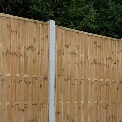 a pressure treated hit and miss fence panel and concrete post