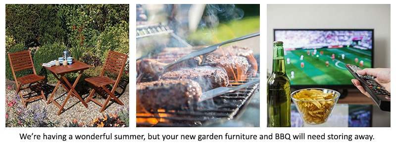 The Rowlinson Plumley Wooden Garden Patio Furniture Bistro Set, food being cooked on a barbecue and someone watching football on the TV