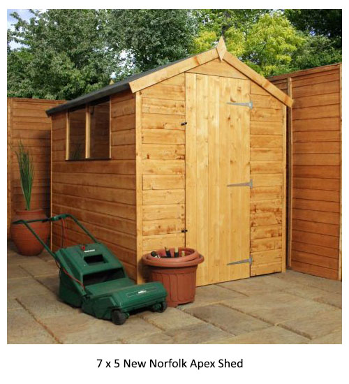 7 x 5 New Norfolk Apex Shed