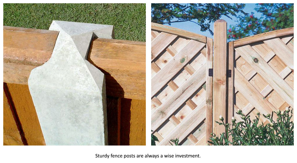 An h-slotted concrete fence post and a standard, pressure treated wooden post