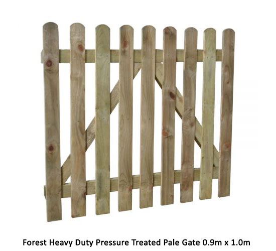 Forest Heavy Duty Pressure Treated Pale Gate 0.9m x 1.0m